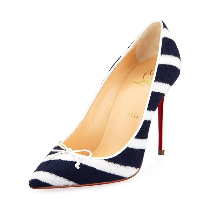 Christian Louboutin Decol Spa Striped Terry Red Sole Pump Womens Shoes