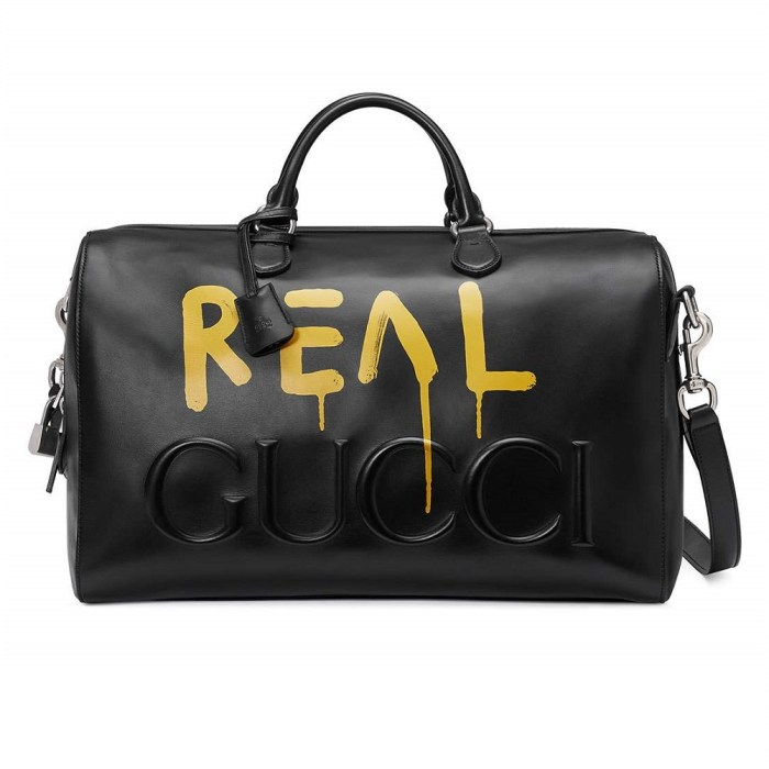 Gucci Ghost Black Leather Duffle Bag