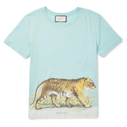 Gucci Slim-Fit Distressed Tiger Printed Mens Cotton-Jersey T-Shirt