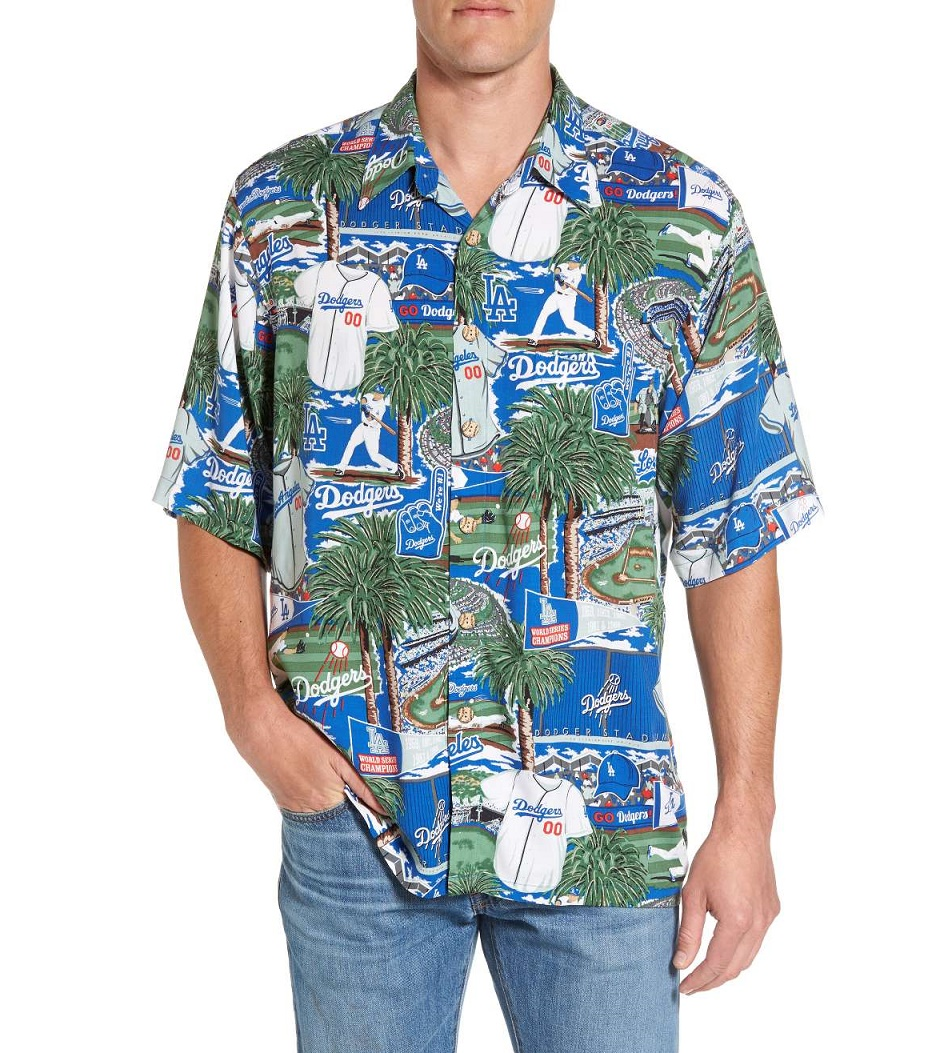 REYN SPOONER Los Angeles Dodgers Print Mens Hawaiian Camp Shirt
