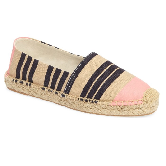 Sam Edelman Pink Stripe Canvas Verona Espadrille Womens Slip on Shoes