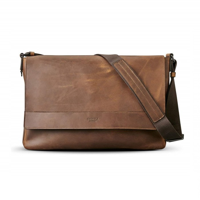 Shinola East-West Leather Messenger Bag