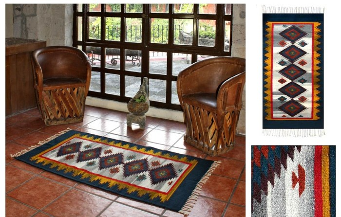 Zapotec Blue Starlight Wool 2.5 x 2 Area Rug