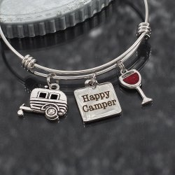 Happy Camper and Wine Glass Charm Bangle Bracelet