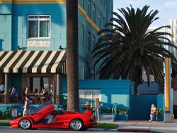 Red Lamborghini Diablo in front of the Georgian Hotel in Santa Monica