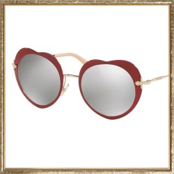 Miu Miu Mirrored Red Heart Sunglasses