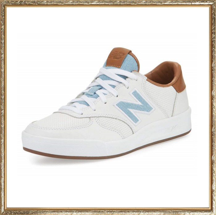 New Balance Leather Court White Denim Sneakers
