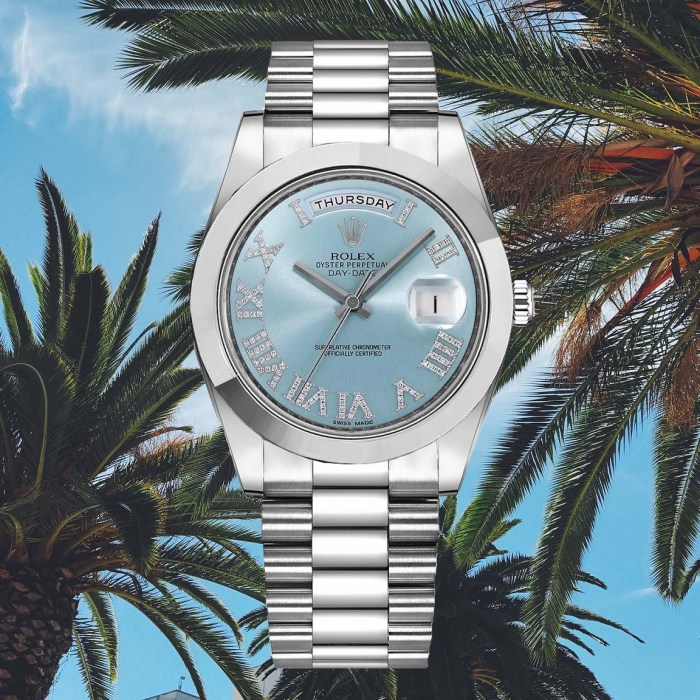 ROLEX Day-Date II Ice Blue Dial Diamond Mens Luxury Watch