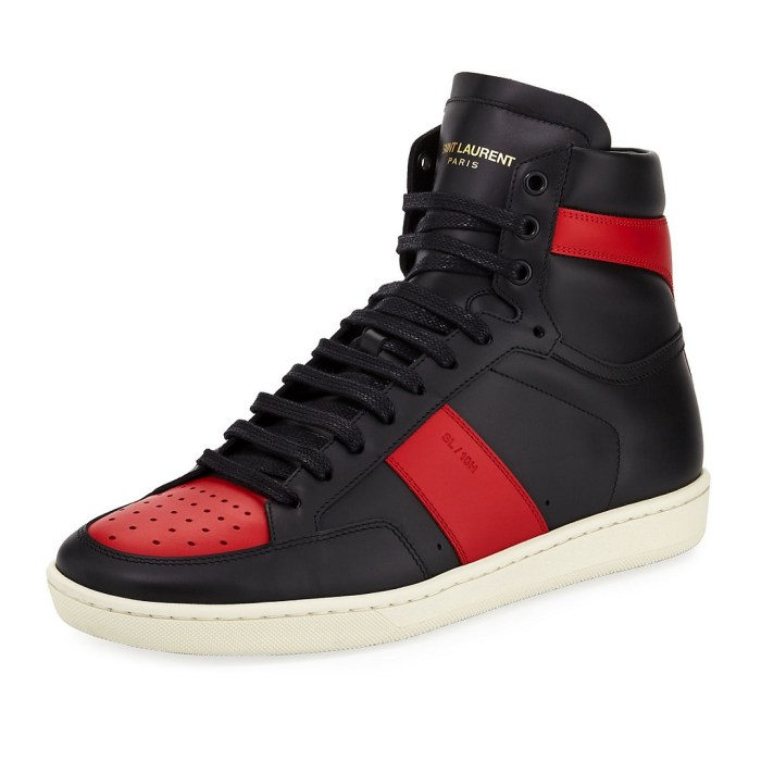 Saint Laurent SL/10H Men's Signature Court Classic Leather High-Top Sneakers