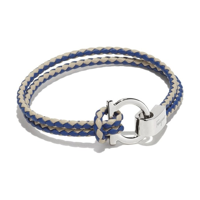 Salvatore Ferragamo Two colors Double Woven Bracelet with Gancino Hook Closure