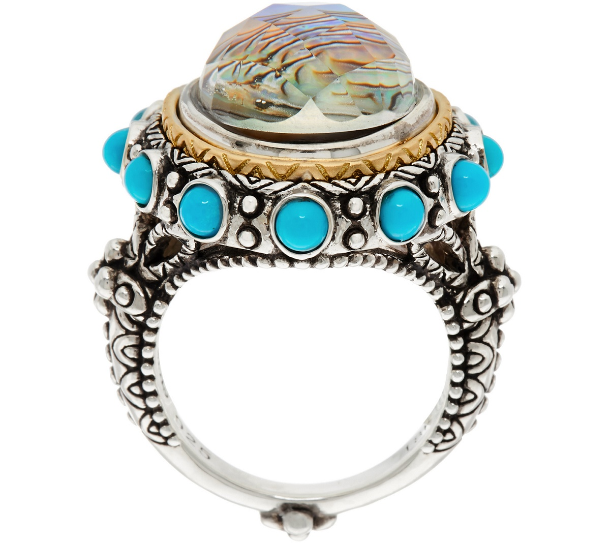 Barbara Bixby Sterling/18K Abalone Doublet & Turquoise Ring