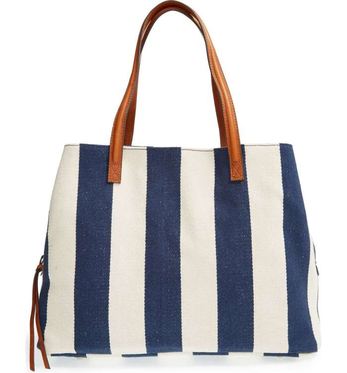 SOLE SOCIETY 'Oversize Millie' Blue & White Stripe Print Tote Bag