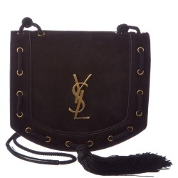 Saint Laurent Medium Monogram Suede Satchel Bag