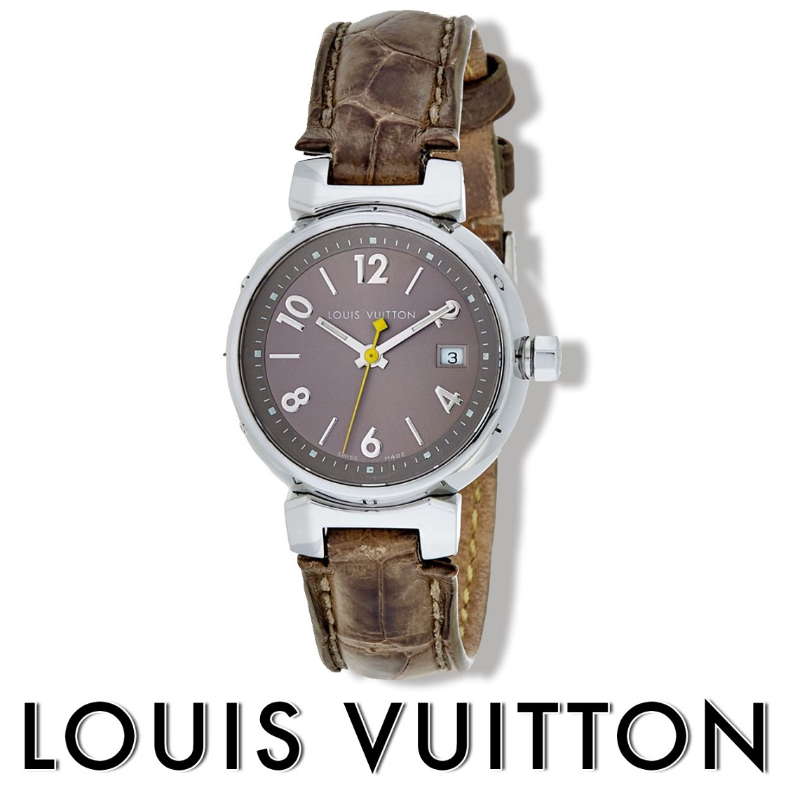 Louis Vuitton Silver-Tone Brown Alligator Tambour Quartz Womens Watch