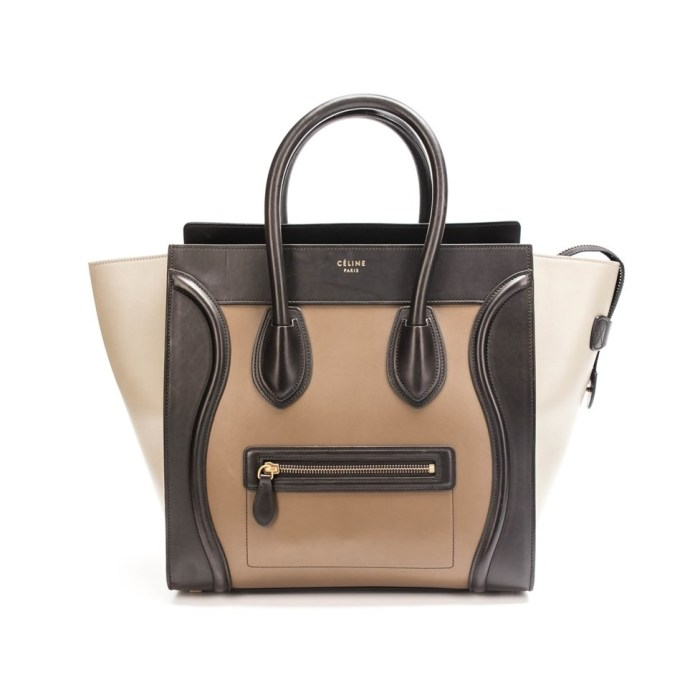 Celine Black Brown Beige Tricolor Calfskin Mini Tote Bag