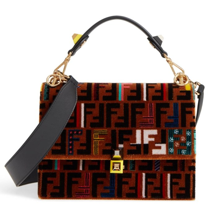 FENDI Kan I Tappetino Velvet Shoulder Bag
