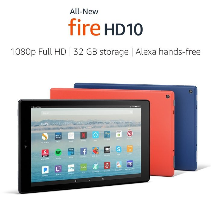 Amazon Fire HD 10 Tablet with Alexa Hands-Free, 10.1″ 1080p Full HD Display 32 GB Tablet