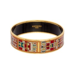Hermes Printed Enamel Wide Bangle Bracelet