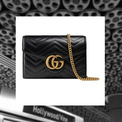 Gucci GG Marmont Chevron Quilted Leather Flap Wallet on a Chain Handbag