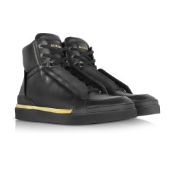 Balmain Atlas Black Leather High Top Sneakers