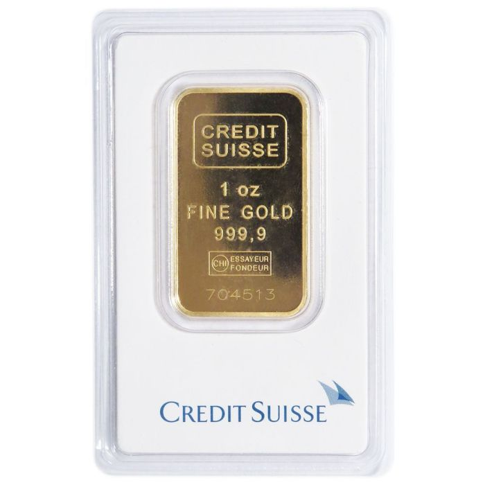 Daily Deal – 1 Troy oz Credit Suisse Gold Bar .9999 Fine Sealed In Assay
