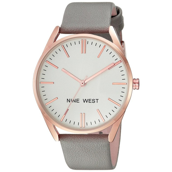 Nine West Rose Goldtone and Grey Strap Watch