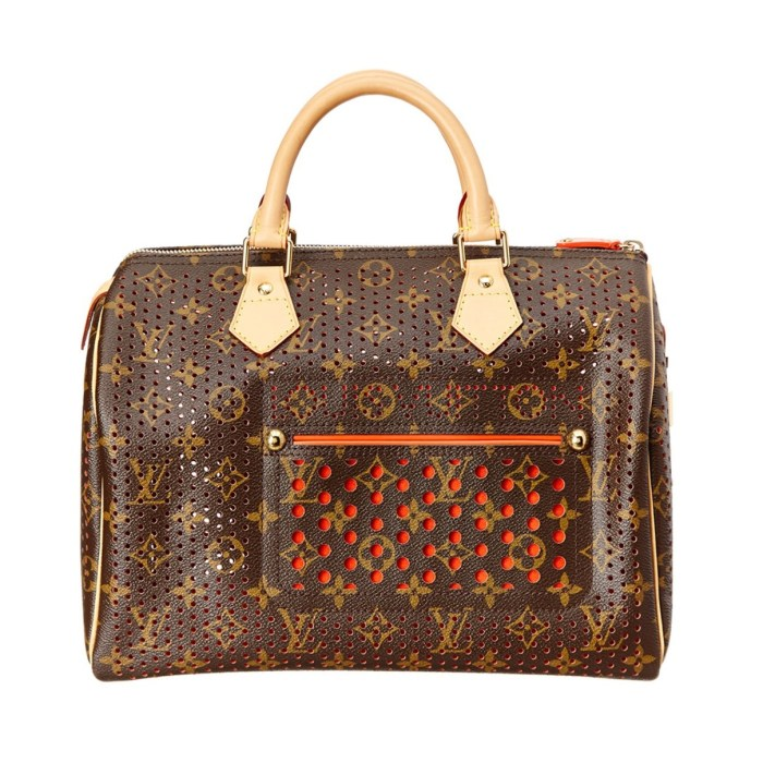 Louis Vuitton Limited Edition Orange Perforated Monogram Canvas Speedy 30 Bag