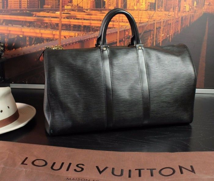 LOUIS VUITTON Large Vintage Leather Mens Duffle Preowned Carryall Bag