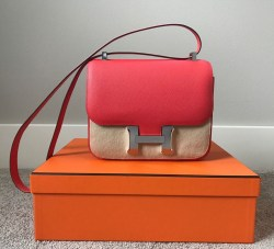 Hermes Rose Jaipur Pink Constance III 24 VEAU Epsom Leather Messenger Crossbody Bag