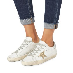 Golden Goose Superstar Gold Glitter Leather Star Low-Top Sneakers