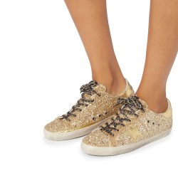 Golden Goose Superstar Leopard Lace Gold Glitter Sneakers