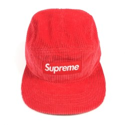 Supreme NEW Red Waffle Corduroy Camp Cap Denim Jean Hat Made in the USA