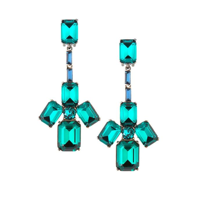 Oscar de la Renta Baguette Swarovski Crystal Clip-On Earrings