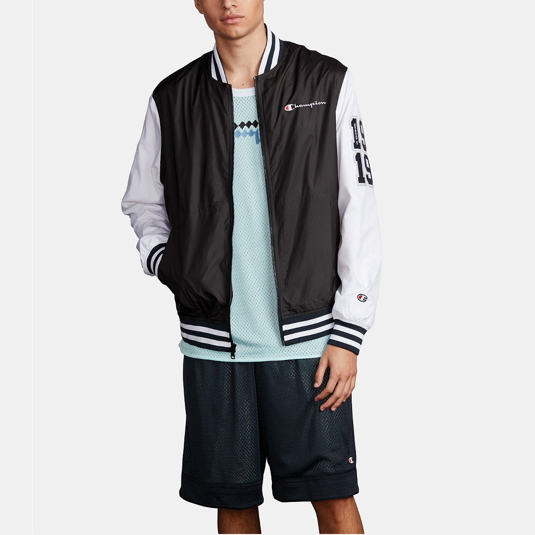 Champion Men's Colorblocked Satin Bomber Jacket