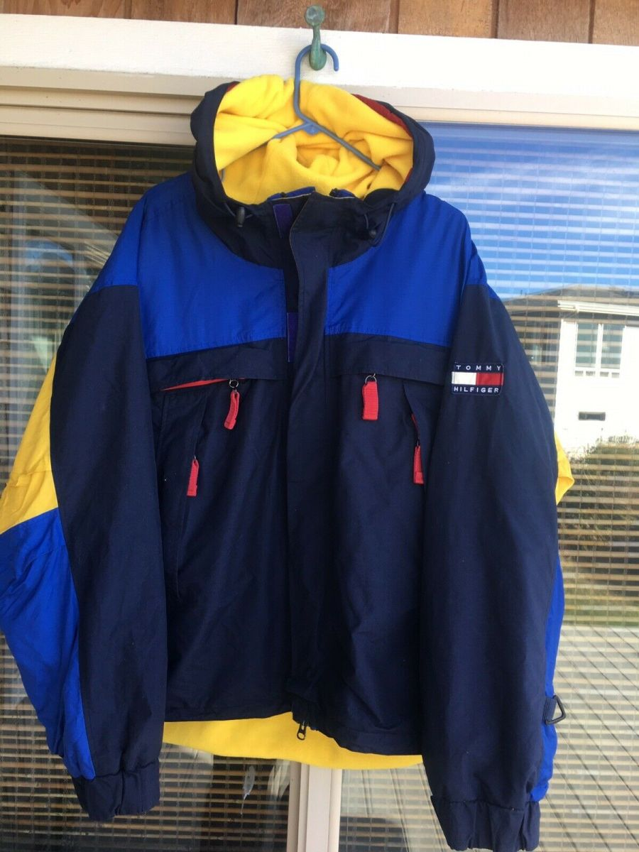 Vintage 90's TOMMY HILFIGER Logo Patch Fleece Lined Parka Coat Jacket Sz XL from Ebay