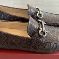 Salvatore Ferragamo Parigi Brown Crocodile Shoes Size 9 Made in Italy