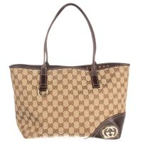 GUCCI Brown Monogram GG Canvas Britt Preowned Tote Bag