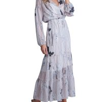 A La Plage Striped Floral-Print Long-Sleeve Tiered Maxi Dress