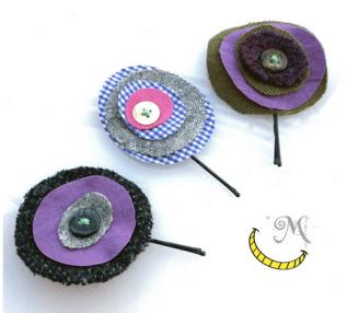 ferretti per capelli - tessuti e bottoni riciclati - Malice's Craftland - riciclo creativo -