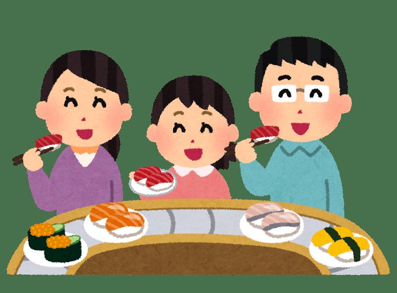 回転寿司を食べている家族のイラスト