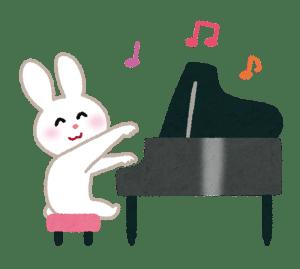 グランドピアノを弾くウサギのイラスト