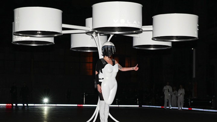 Lady Gaga wears flying dress