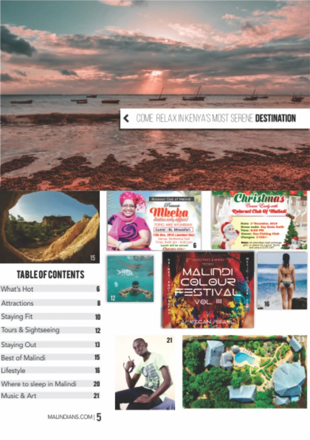 Malindians magazine Dec 2018 table of contents 723x1024 - Launch of Malindi Kenya Tourism Guide Magazine - December 2018 Issue