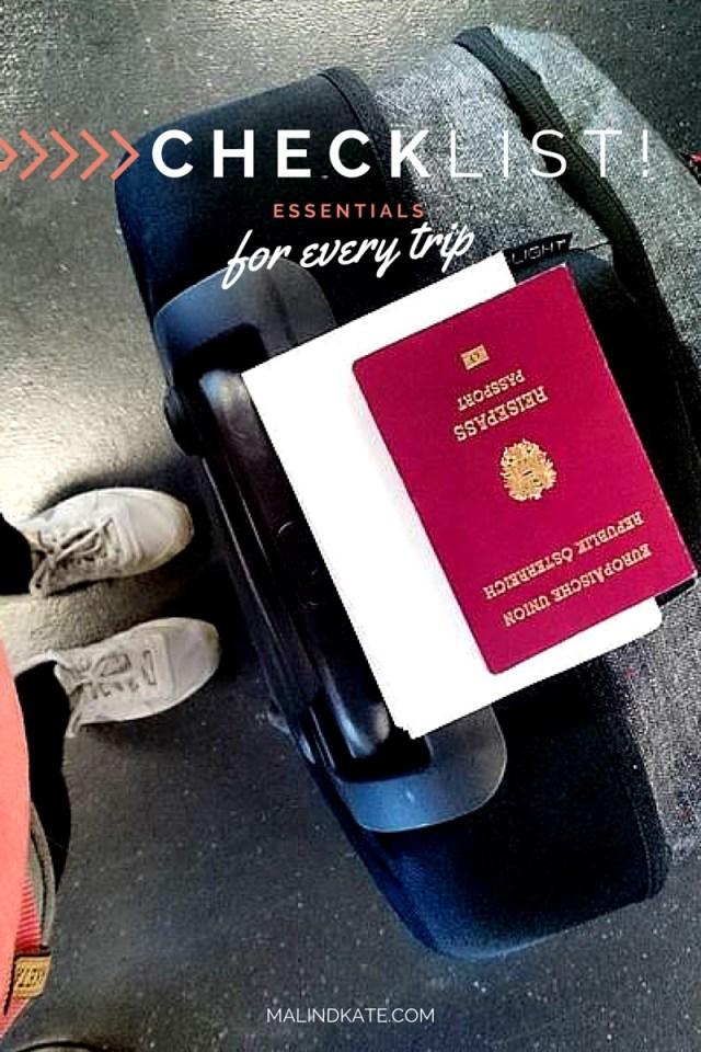 Checklist - Essentials for every trip