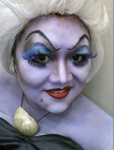 Ursula cosplay face makeup closeup