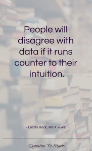 """People will disagree with data if it runs counter to their intuition."""