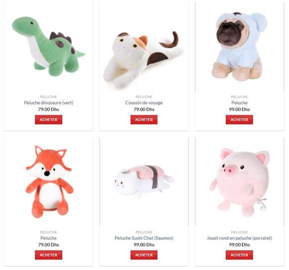 Exemples de peluches du catalogue Miniso avec les prix