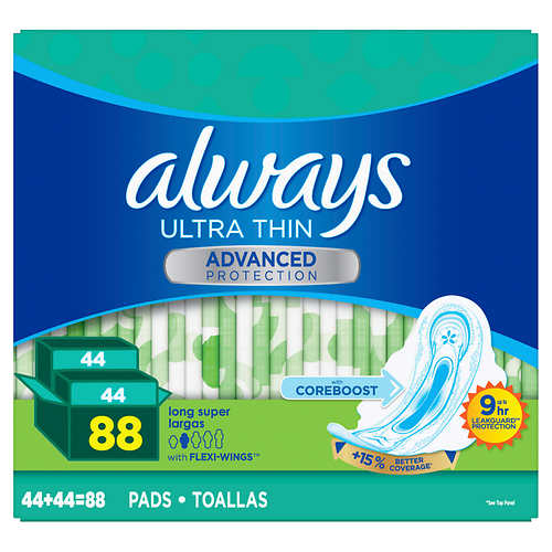 Always Ultra Thin Advanced Long Pads, 88-count