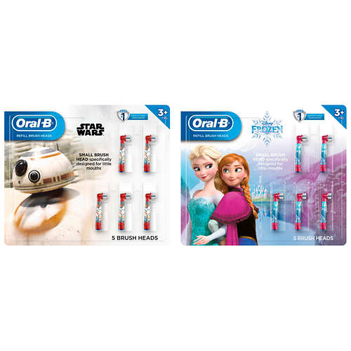 Oral-B Kids Disney's Frozen 2 or Star Wars Replacement ToothBrush Heads, 5-Count