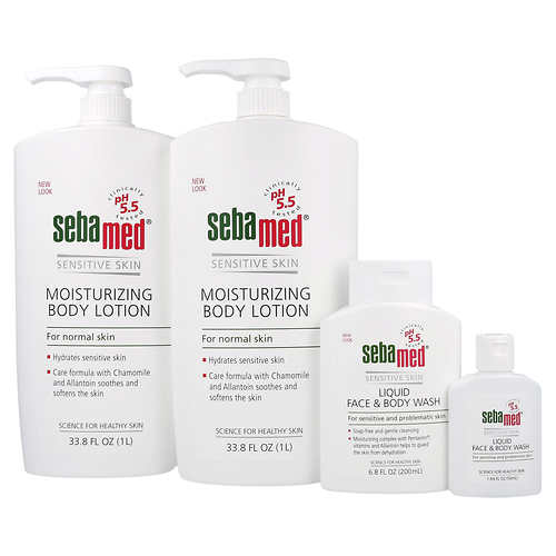 Sebamed Moisturizing Body Lotion with Face & Body Wash and Travel Wash
